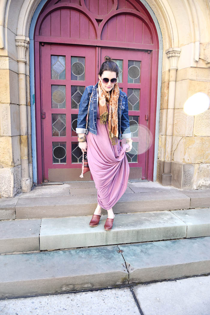 Pink mauve maxi dress