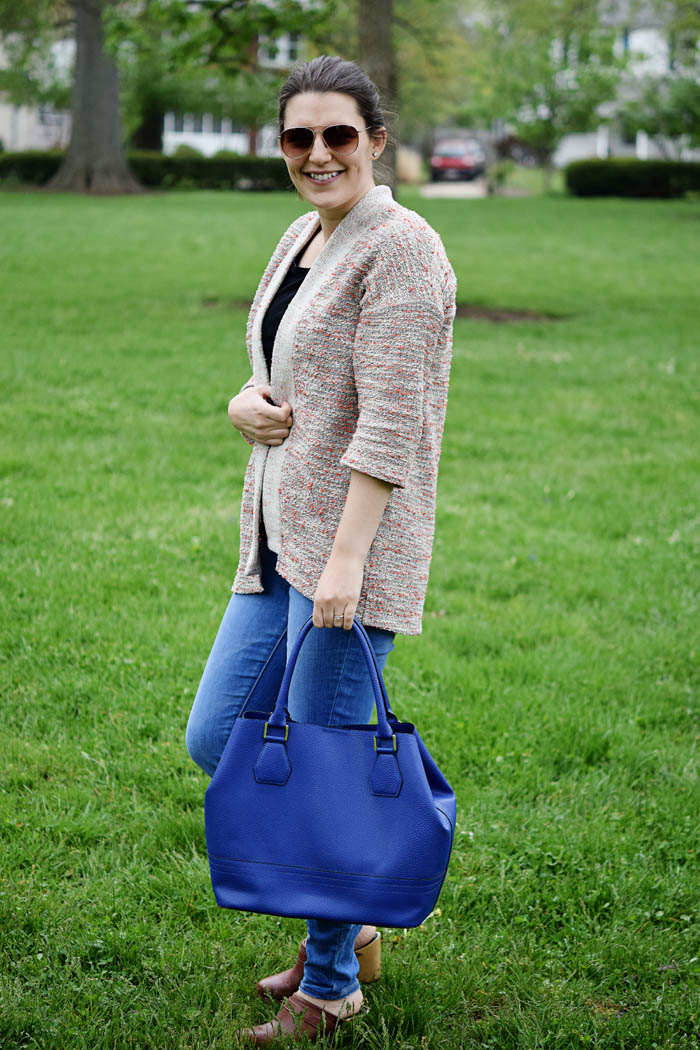 Blue Merona Tote from Target. Click to see the whole look on AnExplorersHeart.com