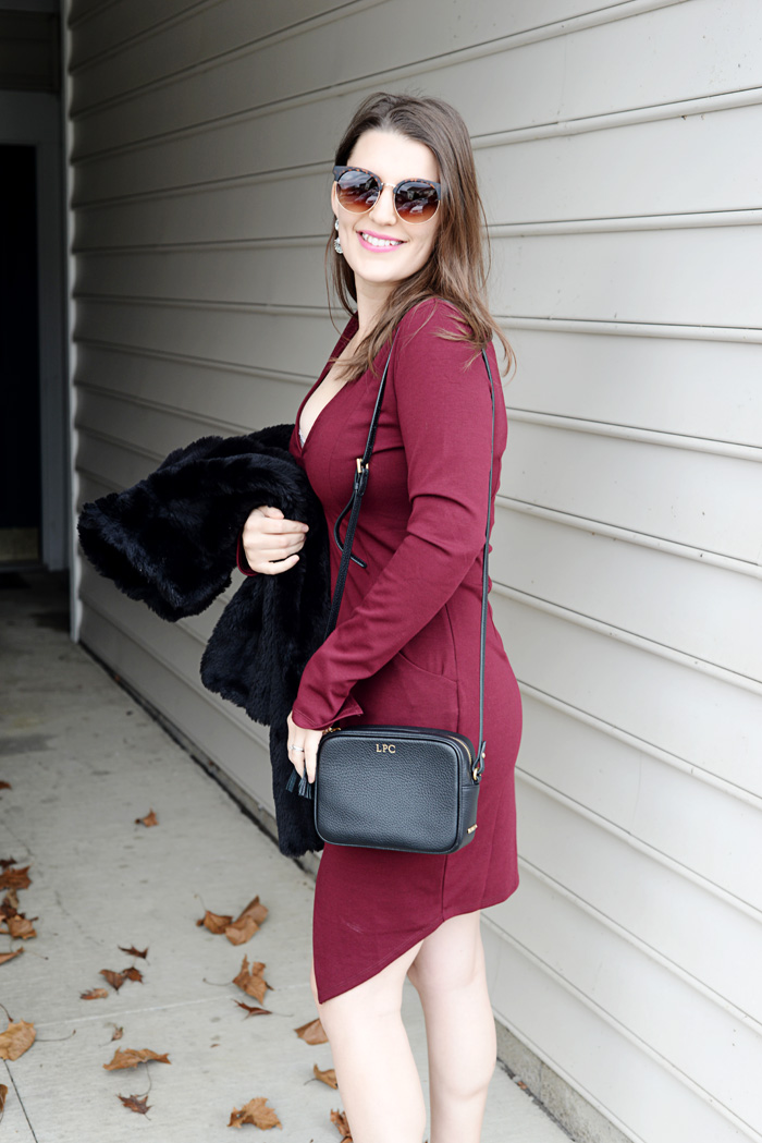Tobi Burgundy Slit Dress for Winter Glam on AnExplorersHeart.com