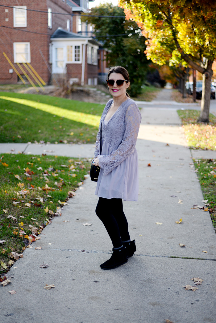 How to Style a Tobi Lace Dress for Winter