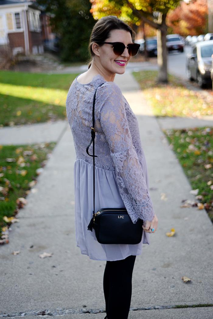 Tobi Lavender Lace Shift Dress