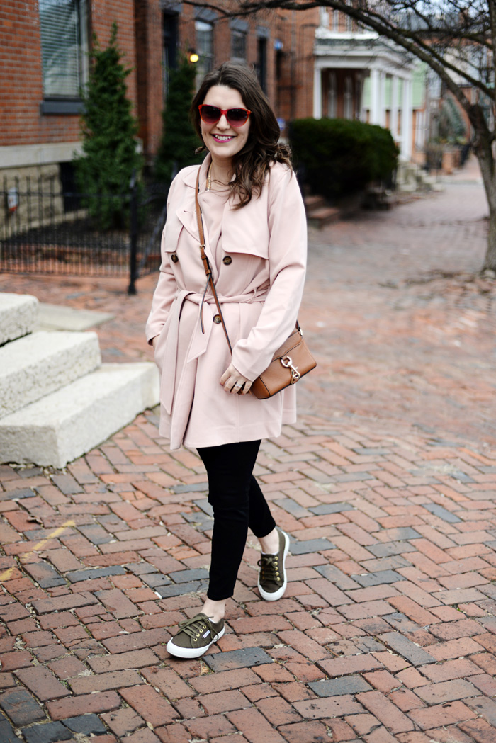Blush Pink Trench Coat with Abercrombie & Fitch