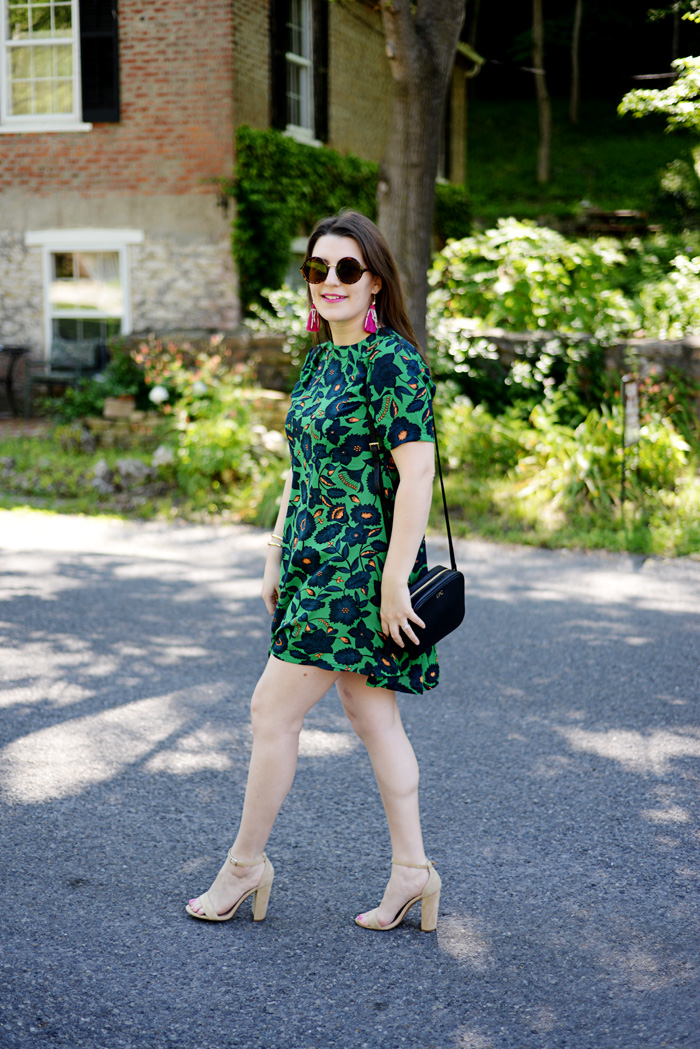 Tropical Print Floral Dress