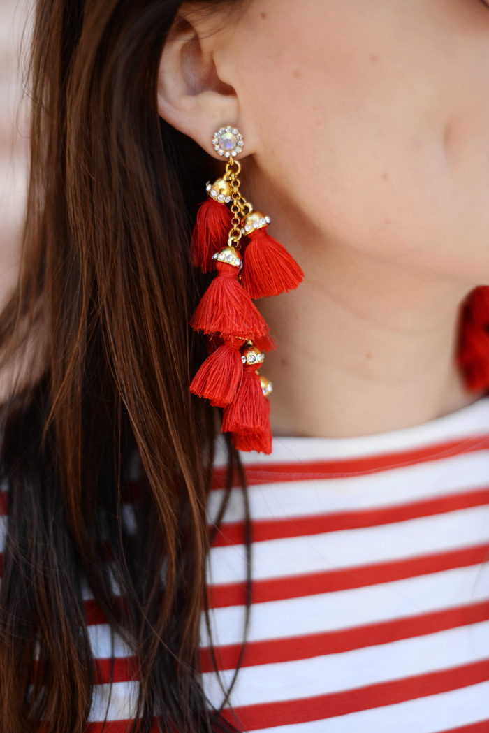 Red Tassel Drop Boho Earrings on AnExplorersHeart.com