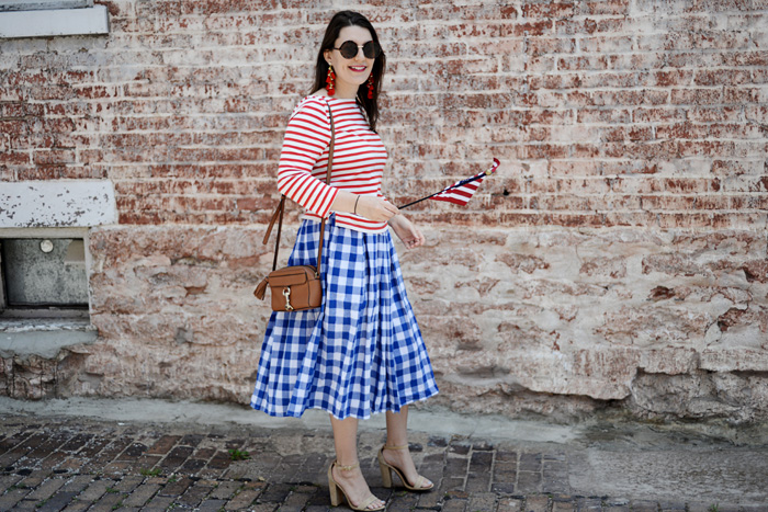 Red White and Blue Gingham Skirt for Independence Day