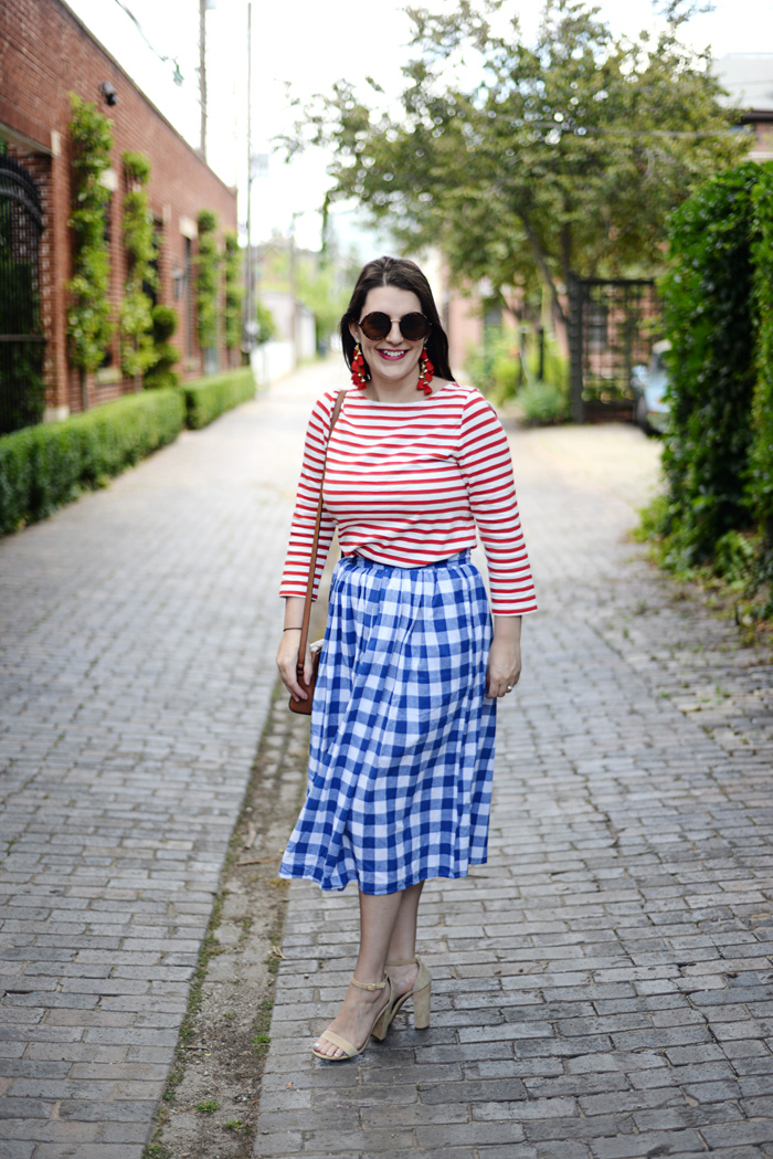 Red White & Blue Gingham Skirt on AnExplorersHeart.com