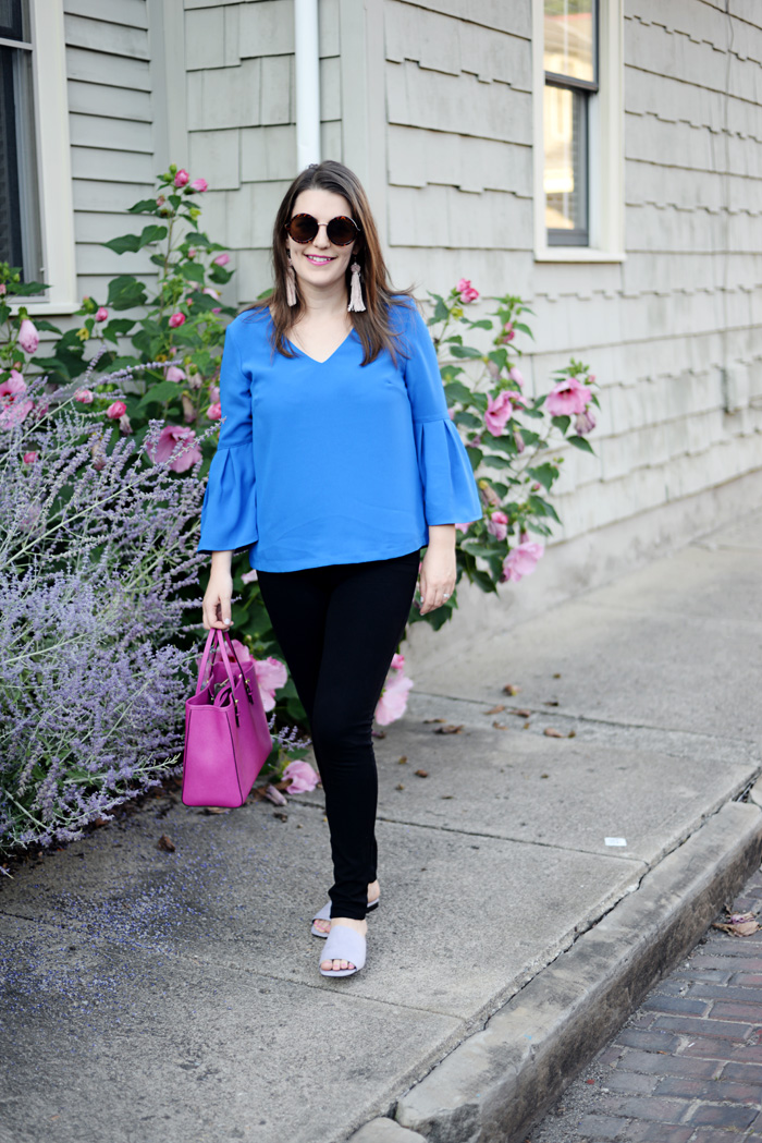 Cobalt Blue Bell Sleeve Top on AnExplorersHeart.com