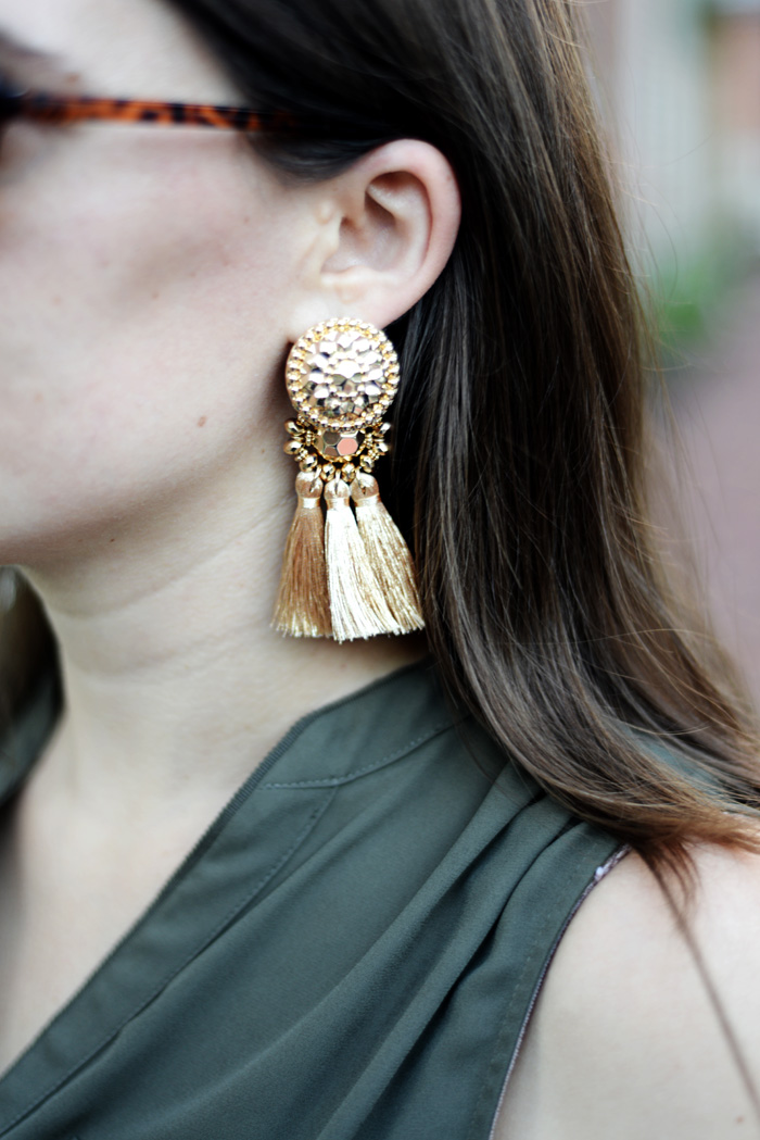 Gold Tassel Earrings on An Explorer's Heart