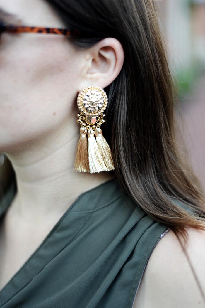 Gold Tassel Earrings on An Explorer's Heart