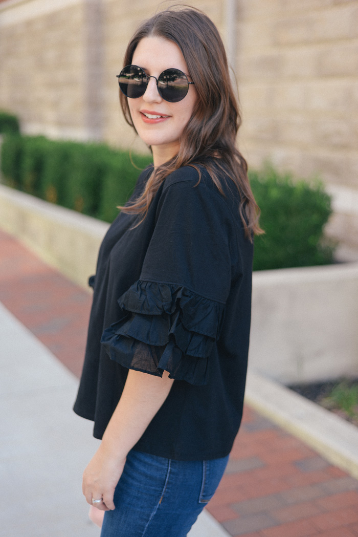 Black Ruffle Shirt from H&M on AnExplorersHeart.com