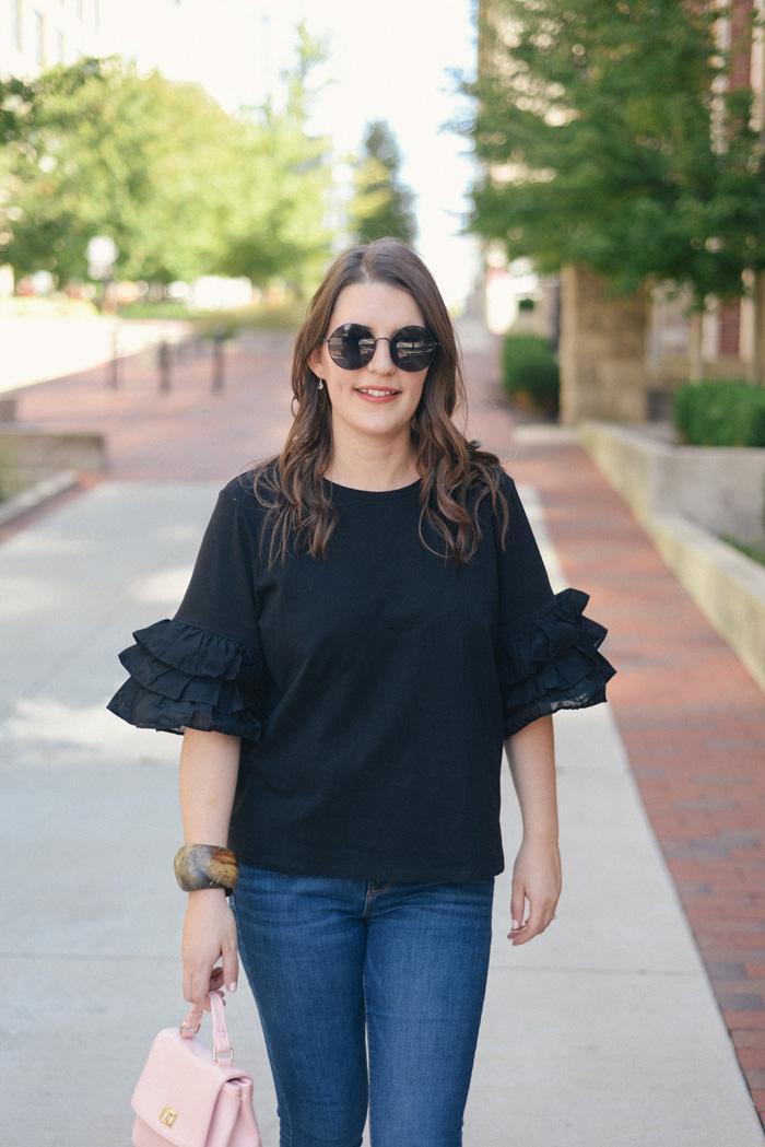 Black Ruffle Shirt from H&M on AnExplorersHeart.com