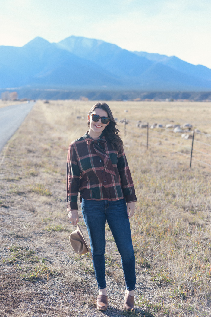 Madewell Plaid Tie Neck Shirt on AnExplorersHeart.com