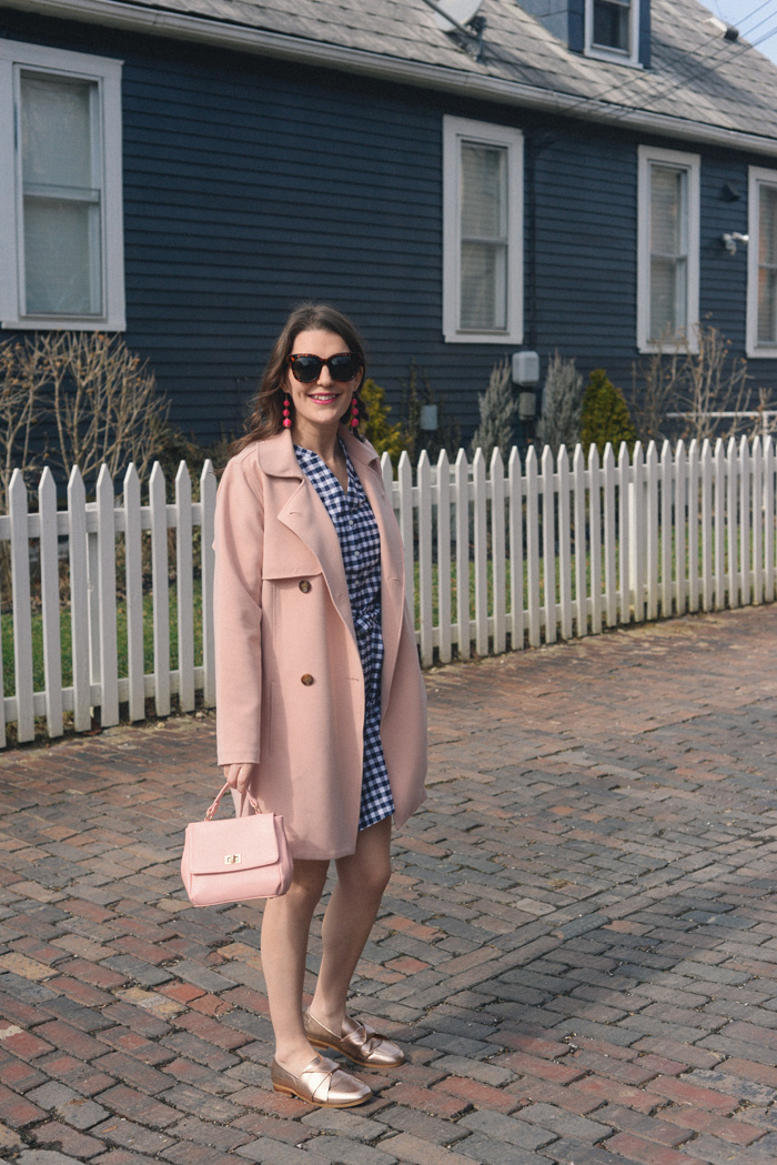 Navy Gingham Dress for Spring