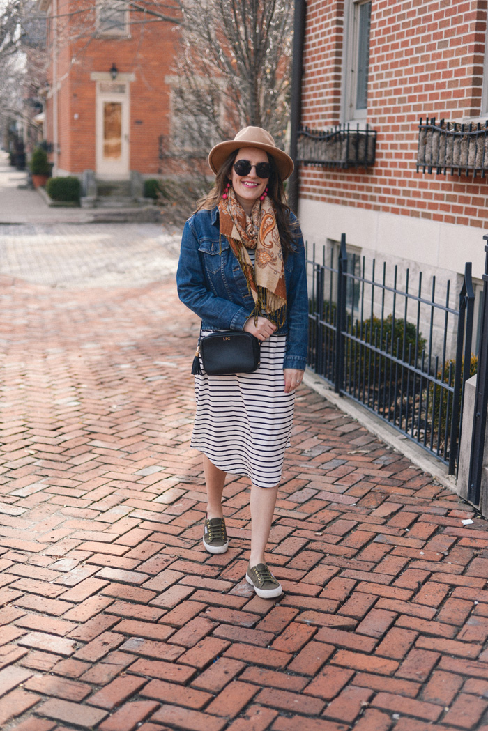 Shein Striped Dress on AnExplorersHeart.com / Black & White Striped Dress / Superga sneakers / Jean Jacket / Gigi New York Crossbody / Scarf / Round Sunglasses / Pink Ball Drop Earrings / Brown Fedora
