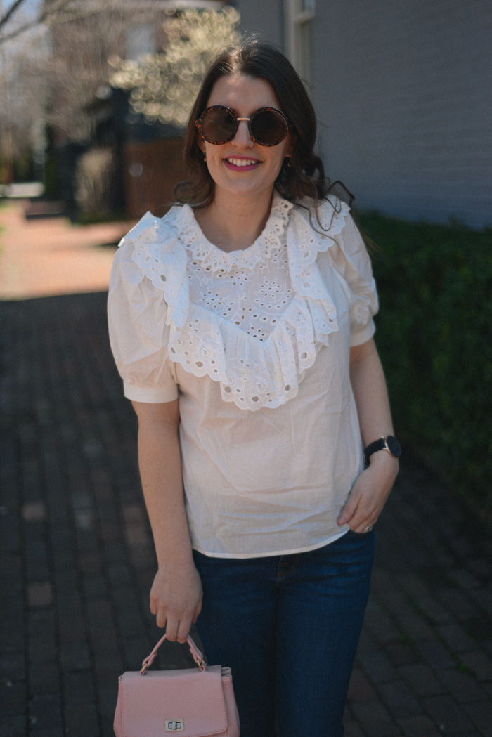 White Eyelet Shirt, Dark Jeans, Pink Satchel Bag, Black Slingback Shoes