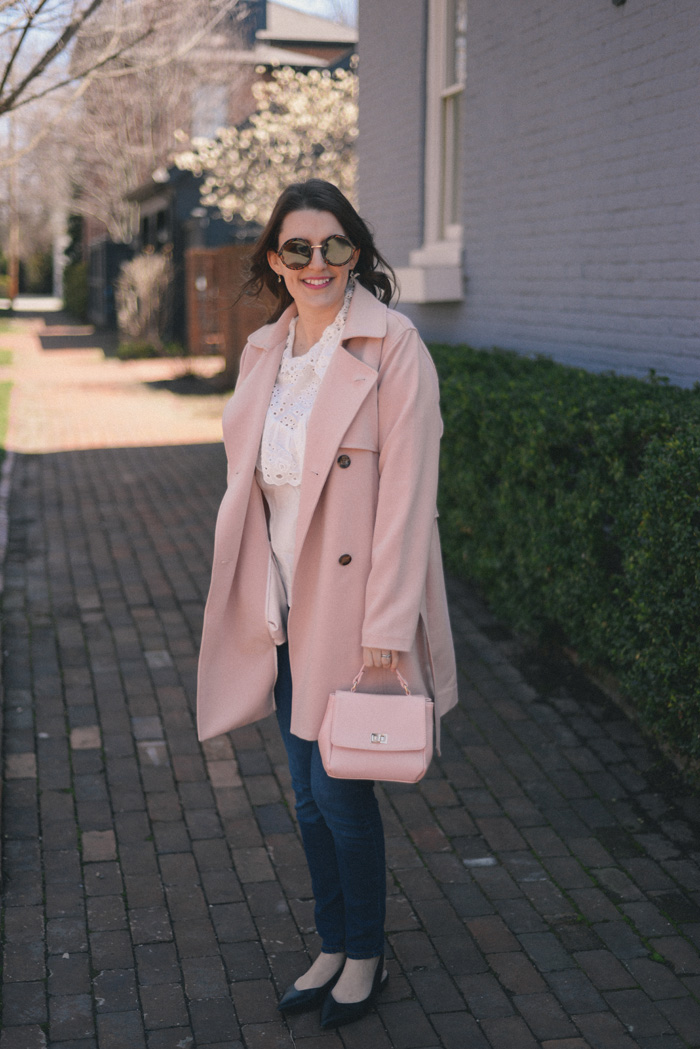 Pink Trench, White Eyelet Shirt, Dark Jeans, Pink Satchel Bag, Black Slingback Shoes